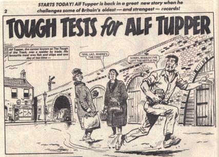 Artwork from Tough Tests for Alf Tupper. The Victor issue 1305.' &copy D.C. Thomson Co. Ltd.